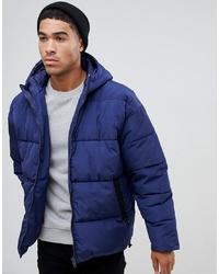 ASOS DESIGN Puffer Jacket With Hood In Navy