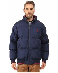 U.S. Polo Assn. Puffer Jacket With Striped Rib Knit Collar