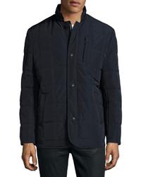 Neiman Marcus Quilted Puffer Hidden Zip Jacket Navy