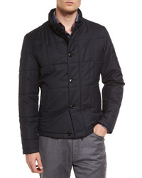 Ermenegildo Zegna Square Quilted Button Down Shirt Jacket Navy
