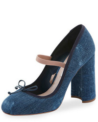 Miu Miu Denim Ankle Wrap Mary Jane 85mm Pump Bleu