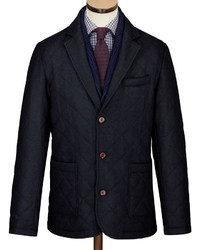 Charles Tyrwhitt Navy Made In England Wool Quilted Blazer
