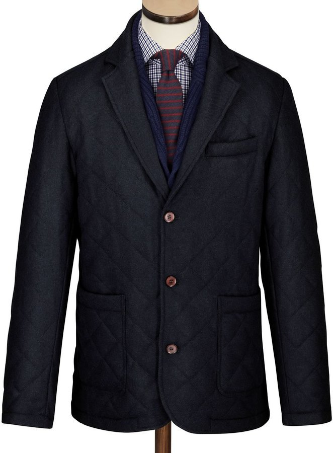 Charles Tyrwhitt Navy Made In England Wool Quilted Blazer | Where ... : quilted blazer - Adamdwight.com