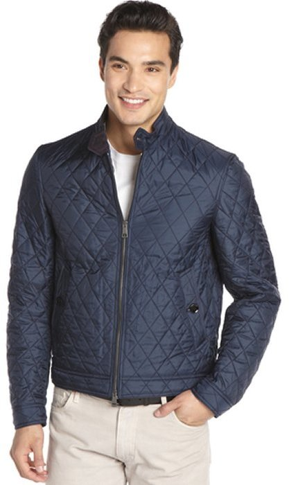 Burberry Brit Navy Quilted Button Tab Collar Bomber Where To Buy