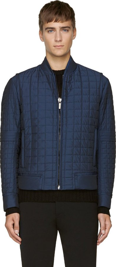 Calvin Klein Collection Navy Quilted Bomber Jacket Where To Buy