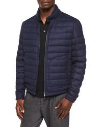 Delabost quilted bomber jacket blue medium 386105