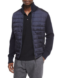 Mixed media quilted jacket navy medium 391398
