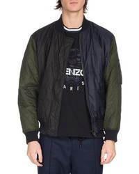 Kenzo Quilted Colorblock Bomber Jacket Navy