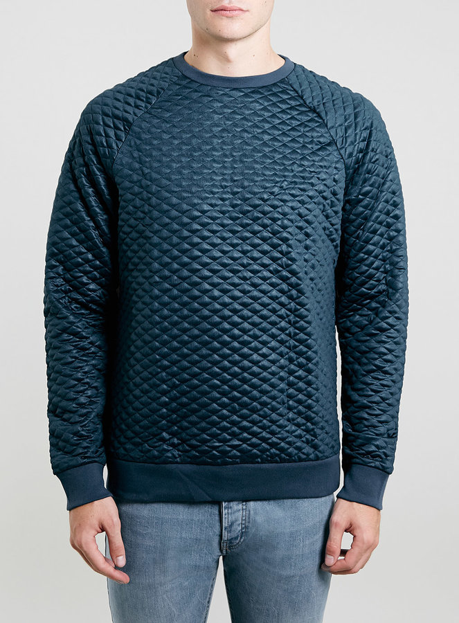 Topman Blue Technical Quilted Sweatshirt   Where to buy & how to wear : quilted sweatshirt - Adamdwight.com