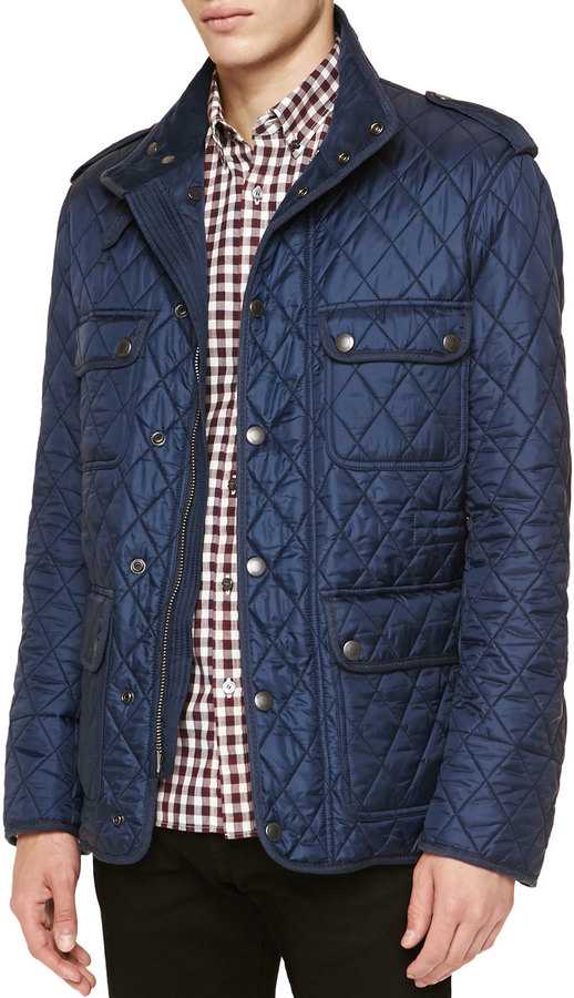 Brit Diamond Quilted Field Jacket Navy