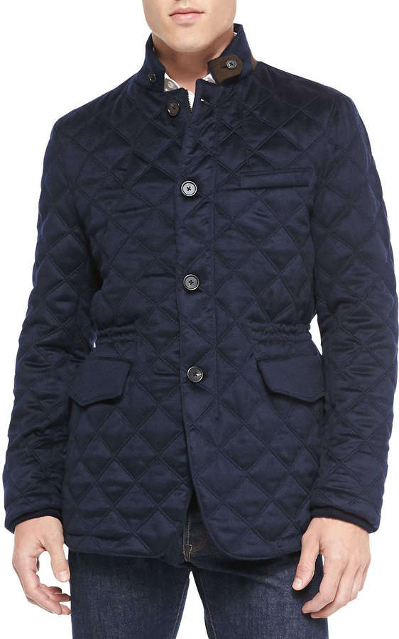 Neiman Marcus Cashmere Diamond Quilted Field Jacket Navy Where To