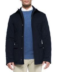 Quilted belfast storm system jacket blue navy medium 86118