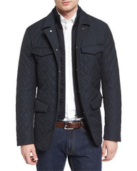 Etro Quilted Two Layer Field Jacket Navy
