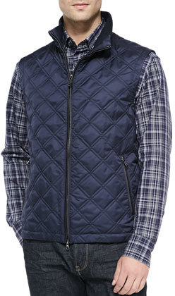 Brioni Diamond Quilted Vest Navy | Where to buy & how to wear : quilted vest navy - Adamdwight.com