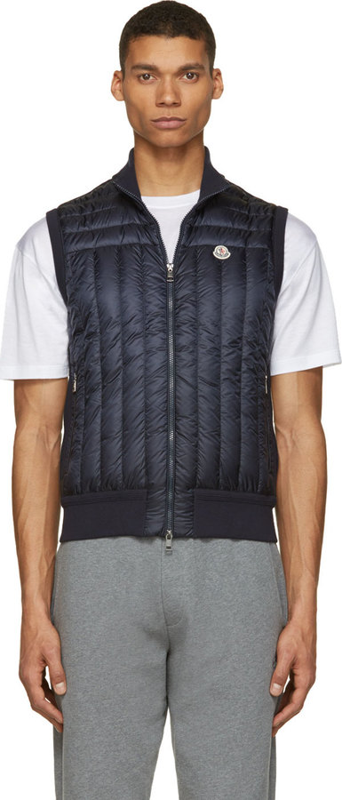 ... Moncler Navy Quilted Down Gilet ...