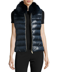 Herno Quilted Puffer Vest W Fur Collar
