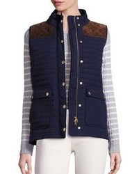 Vineyard Vines Suede Trim Quilted Vest