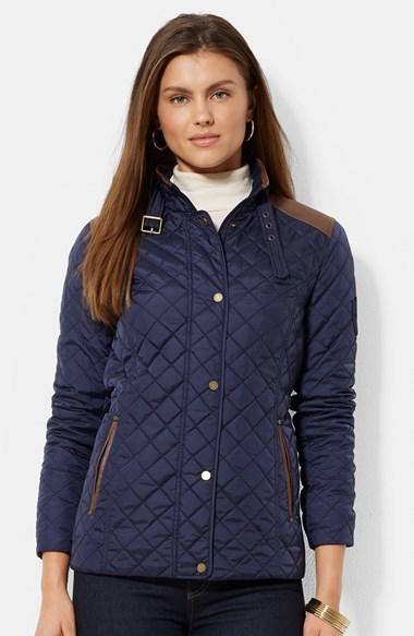 Navy Quilted Jacket Lauren Ralph Lauren Faux Leather Trim
