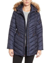 Marc new york by quilted down jacket with faux fur trim medium 757526