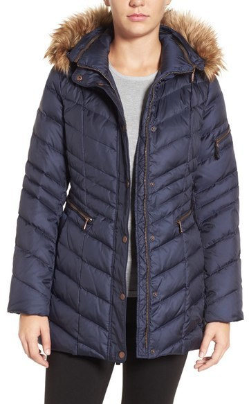 Andrew Marc Marc New York By Quilted Down Jacket With Faux Fur Trim