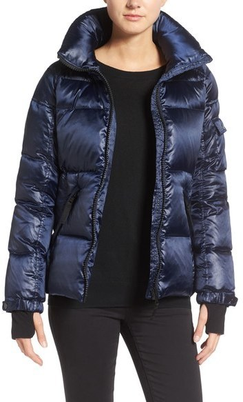 S13nyc S13 Kylie Metallic Quilted Jacket With Removable Hood