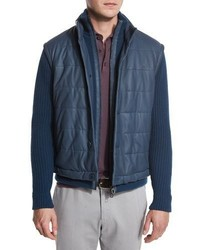 Quilted leather ribbed bomber jacket lapis lazuli medium 713287