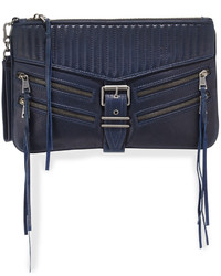 Navy Quilted Leather Clutch