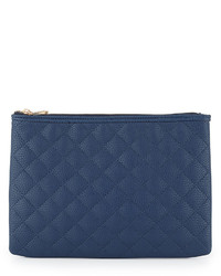 Eva quilted zip clutch bag navy medium 622566