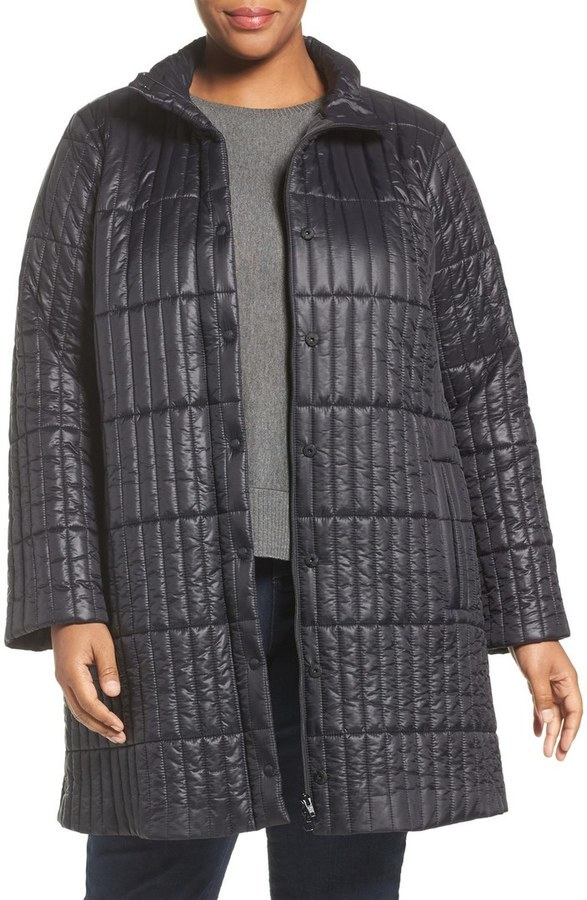 Plus Size Recycled Nylon Blend Quilted Jacket