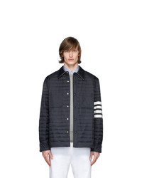 Thom Browne Navy Down 4 Bar Quilted Shirt Jacket
