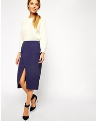 Collection quilted split front pencil skirt medium 125096
