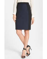 Halogen Seamed Pencil Skirt Navy Black Quilted 2
