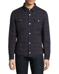 Navy Quilted Shirt Jacket