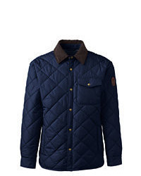 Lands' End Quilted Primaloft Shirt Jacket Classic Navy