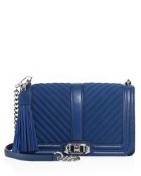 Rebecca Minkoff Chevron Quilted Love Leather Suede Crossbody Bag