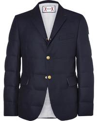 Navy Quilted Wool Blazer