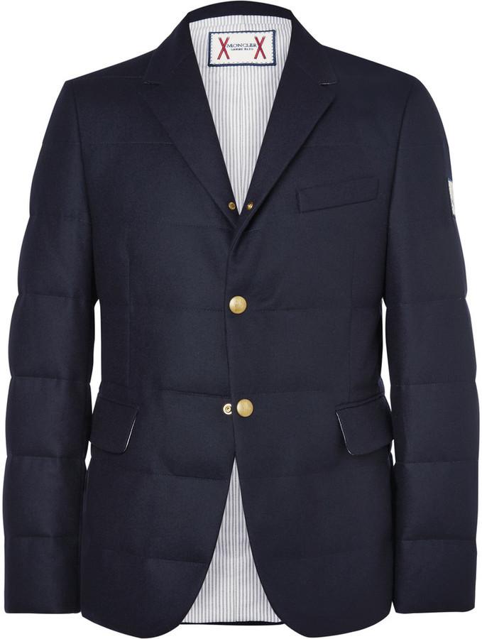 114622df3 Moncler Gamme Bleu Quilted Wool Down Blazer