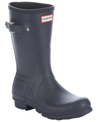 Hunter Black Rubber Slip On Mid Calf Rain Boots