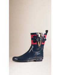 Burberry House Check Detail Colour Block Rain Boots