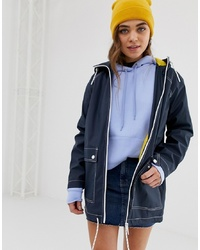 Pull&Bear Contrast Stitch Rain Mac With Pockets In Navy