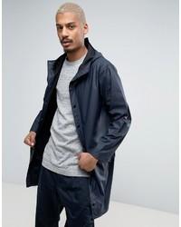 Rains Long Hooded Jacket Waterproof In Navy