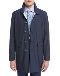 Isaia Reversible Single Breasted Raincoat Navybeige