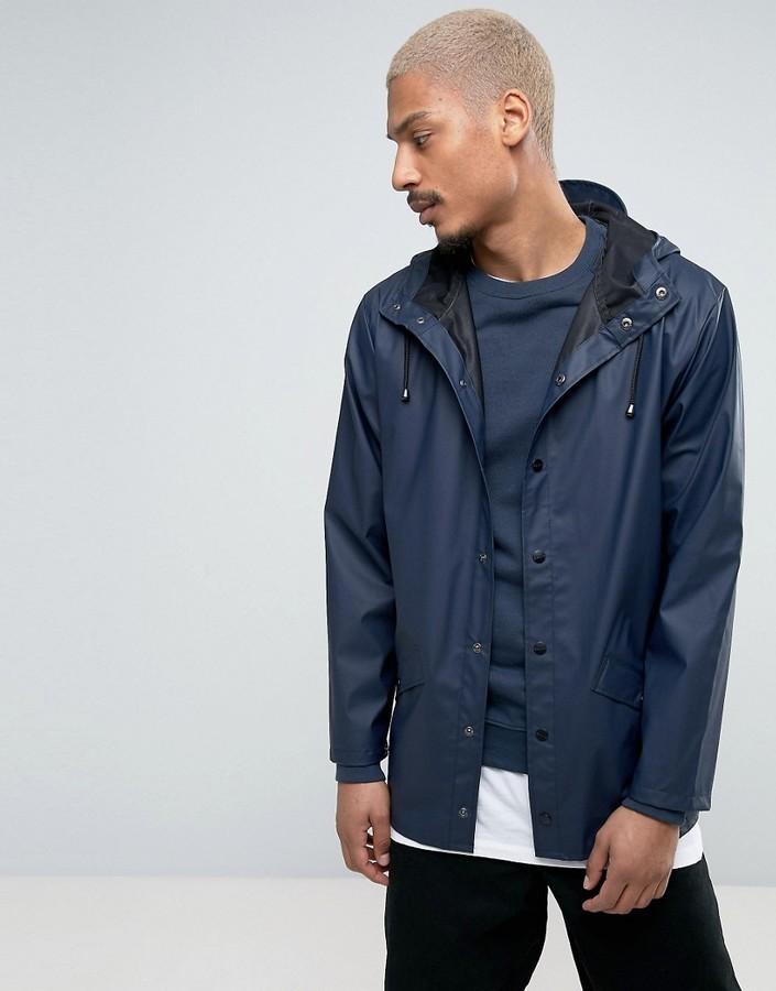 2edbddc95 $119, Rains Short Hooded Jacket Waterproof In Navy