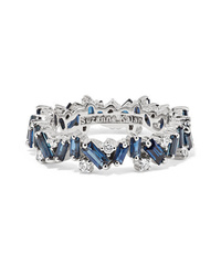 Suzanne Kalan 18 Karat White Gold Sapphire And Diamond Ring