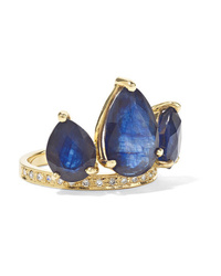 Jacquie Aiche Crown Petal 14 Karat Gold Sapphire And Diamond Ring