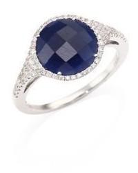 Meira T Diamond Blue Sapphire 14k White Gold Ring