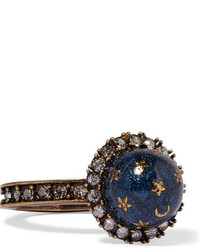 Valentino Gold Plated Swarovski Crystal And Enamel Ring Blue