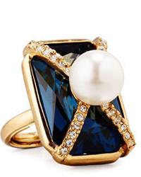 Oscar de la Renta Pearly Crystal Octagon Statet Ring Dark Blue