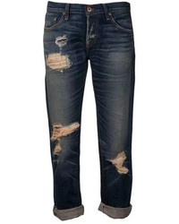 Navy Ripped Boyfriend Jeans