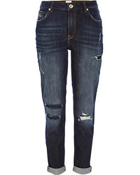 River Island Dark Wash Patched Ashley Slim Boyfriend Jeans